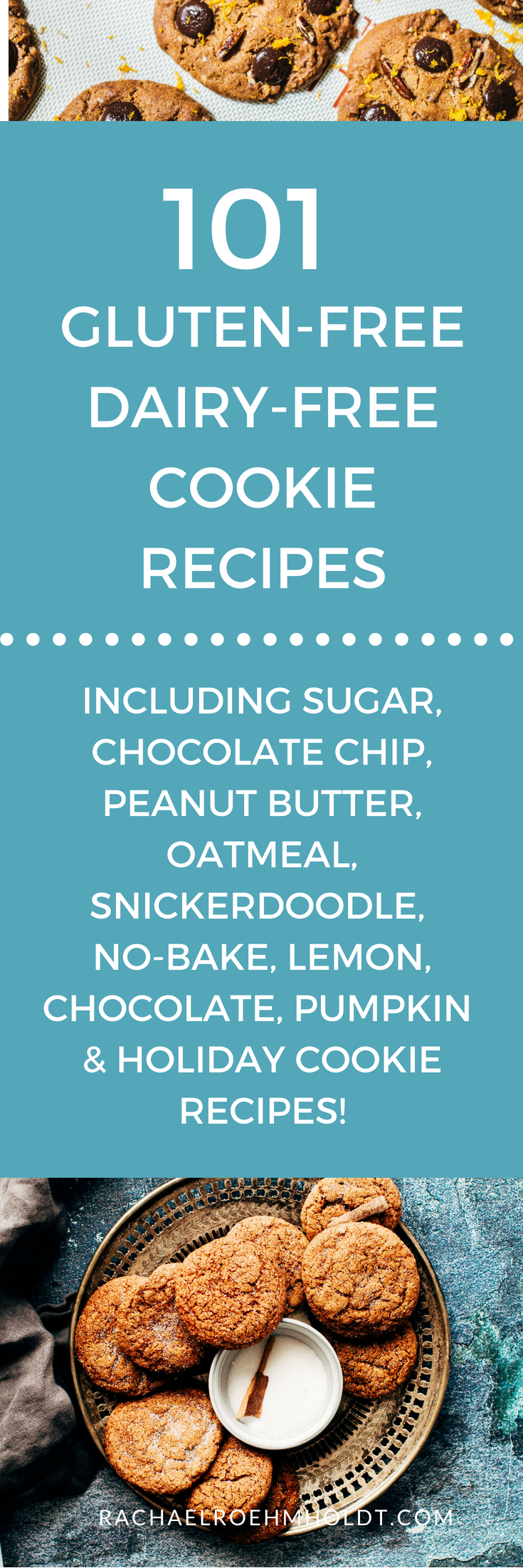 101 Gluten-free Dairy-free Cookie Recipes. Included in this gluten-free dairy-free recipe roundup are: sugar, chocolate chip, peanut butter, oatmeal, snickerdoodle, no-bake, lemon, chocolate, pumpkin, and holiday cookie recipes. Click through to check out all the awesome recipes at RachaelRoehmholdt.com.