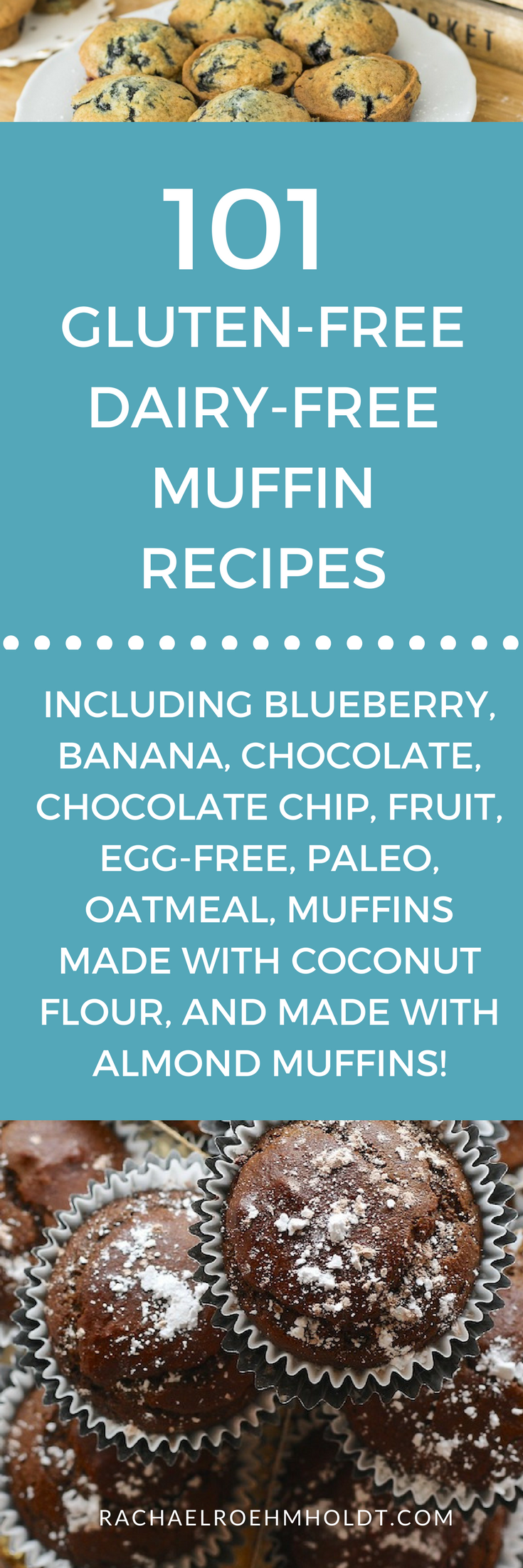 101 Gluten-free Dairy-free Muffin Recipes. Included in this recipe roundup are: gluten-free dairy-free blueberry muffins, gluten-free dairy-free banana recipes, gluten-free dairy-free chocolate muffins, gluten-free dairy-free chocolate chip muffins, gluten-free dairy-free fruit muffins, gluten-free dairy-free egg-free muffins, gluten-free dairy-free paleo muffins, gluten-free dairy-free oatmeal muffins, gluten-free dairy-free muffins made with coconut flour, and gluten-free dairy-free muffins made with almond flour recipes. Click through to find tons of recipe inspiration and get access to my free 4-part workshop all about taking on a gluten-free dairy-free diet and lifestyle.