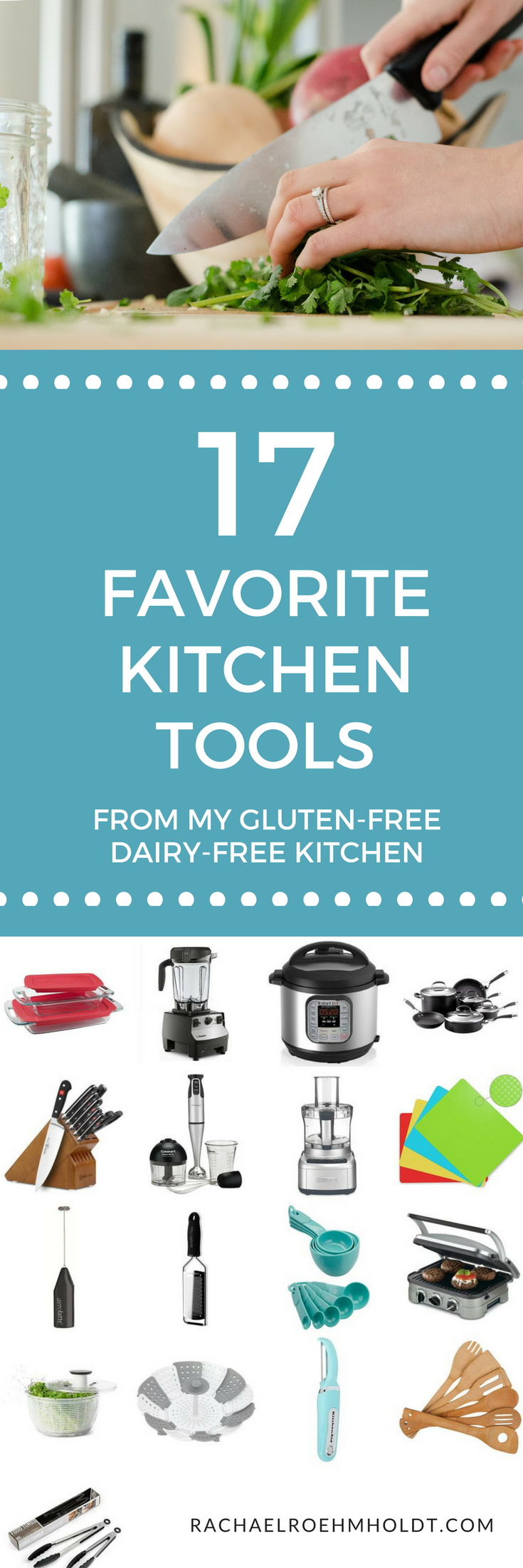 I've rounded up 17 of my all-time favorite kitchen tools from my gluten-free dairy-free kitchen. Click through to check out this list and grab some new upgrades to your tools too!