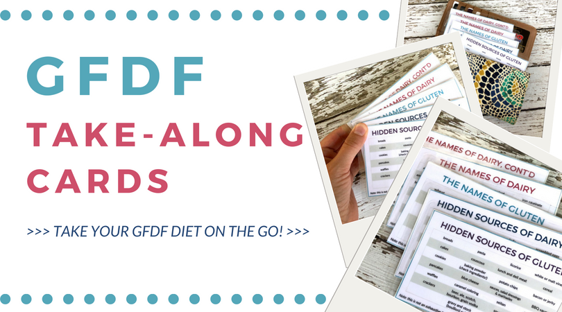 GFDF Take-along cards: take your gluten-free dairy-free diet on the go! Click through for full details.