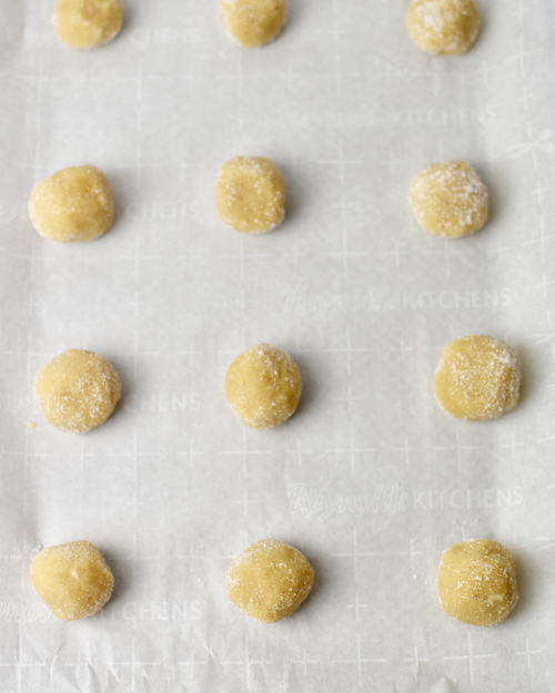 Gluten-free Thumbprint Cookies - Roll the dough into cookie dough balls Rolled in Sugar