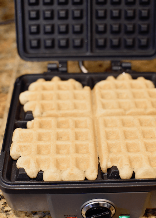 Gluten-free Waffles (Dairy-free, Vegan) - baked in the waffle iron