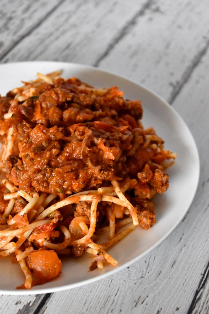 Gluten-free dairy-free meat and veggie spaghetti