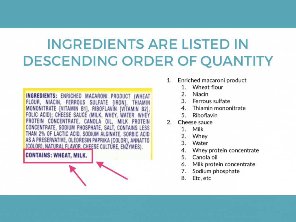 How to Read Ingredient Lists: Contains Notes are at the bottom of ingredient lists