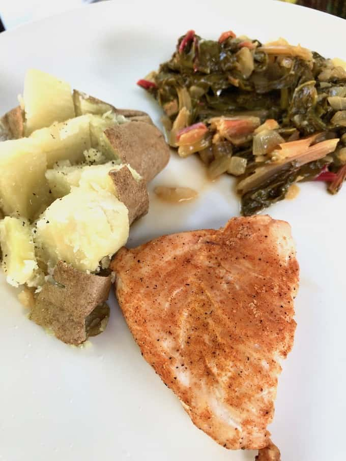 What I eat - dinner. Chicken, potatoes, Swiss chard