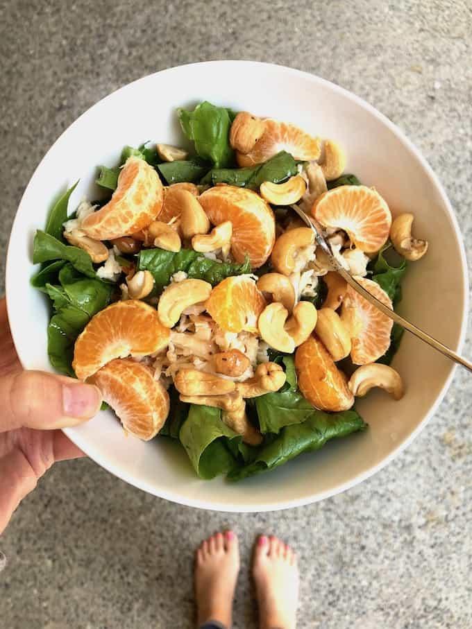 Gluten and dairy-free lunch. Chicken Asian Salad