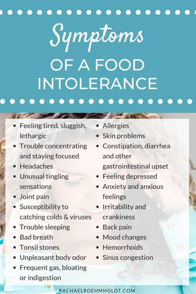 Food Intolerance Symptoms Chart
