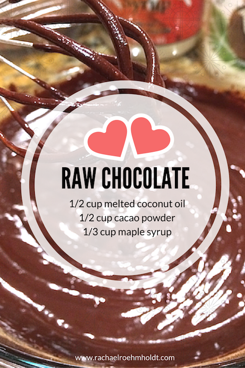 Raw Chocolate: Dairy-free + Delicious. 1/2 cup melted coconut oil + 1/2 cup cacao powder + 1/3 cup maple syrup. Mix together and refrigerate until solid. Get more dairy-free treats + inspiration at www.rachaelroehmholdt.com